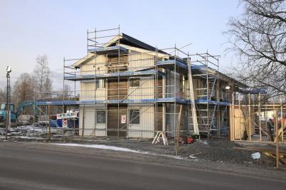 10 december 2019 - Arbetet med hyreshuset vid Slussen fortskred.