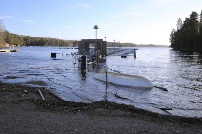 18 februari 2020 - Sjön Foxen svämmade över efter allt regnande.