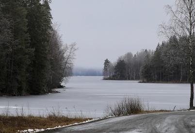 6 mars 2020 - Sjön Töck fick ett tunt istäcke.