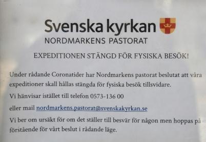 17 mars 2020 - Svenska kyrkan införde nya coronasäkra rutiner vid kontakt med kyrkan.
