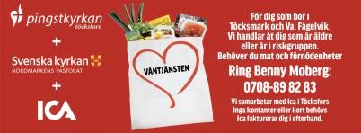29 mars 2020 - Pingstkyrkan, Svenska kyrkan och ICA startade ett samarbete för att hjälpa personer i riksgrupper att handla, så att personerna inte utsatte sig för risk att smittas av corona.