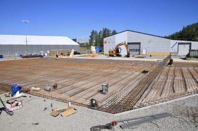 15 juni 2020 - Gjutningen av plattan för norbag´s utbyggnad förbereddes.