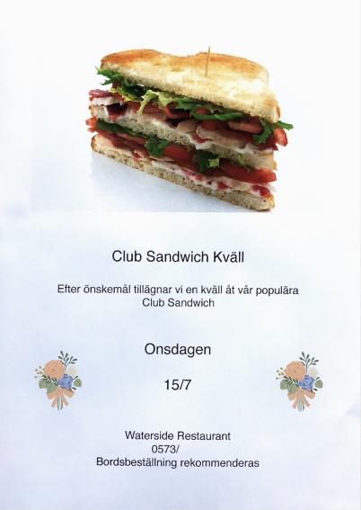 15 juli 2020 - Waterside arrangerade coronasäker Club Sandwich kväll.