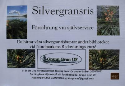 11 november 2020 - Linus Gustavsson i Ung Företagsverksamhet UF sålde Silvergransris.