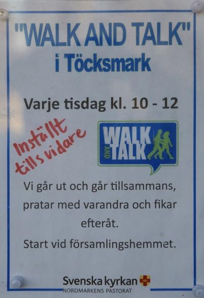 23 november 2020 - Den organiserade delen av Walk and Talk ställdes in p g a coronasmittan.