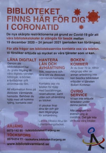 19 december 2020 - Och så stängdes biblioteken i Årjäng och Töcksfors p g a coronasmittan.