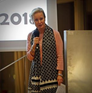 Föreningens ordförande Therese Mattsson hälsar alla välkomna till jubileumsfesten. Foto Lars Höglund