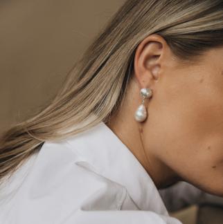Skrea Shell earrings silver - Skrea shell silver