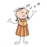 Teckning flicka som sjunger
