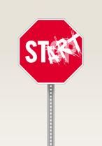 Stoppskylt med ordet start