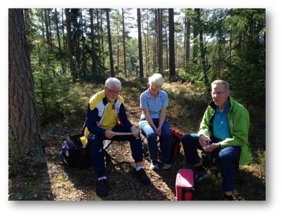 Weine Johansson, Berit Gustafsson och Stig Gustafsson njuter av miljön vid Fiskkraken
