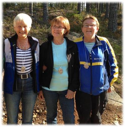 Fr. vänster: Inga Johansson(D65), Inger Hellkvist(D70) och Kerstin Plam(D60). Saknas gör Solveig Dillman i D75 och Els-Marie Lundkvist OK Nalle i D80
