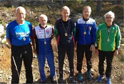 Fr. vänster: Göran Larsson(H80), Curt Thorèn(H75), Jerry Holm(H70), Hans-Ove Eriksson(H65) Arne Holmberg(H60) Saknas gör Stig Olby i H85