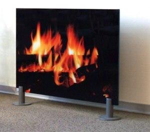 """Exempelbild: 500 watt, fristående -utan ram backsidan glas - Motiv: """"Kaminfeuer"""""""