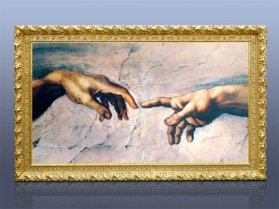 "Exempelbild: 600 watt 70mm Gulram, Motiv: Michelangelo ""Creation of Adam"""