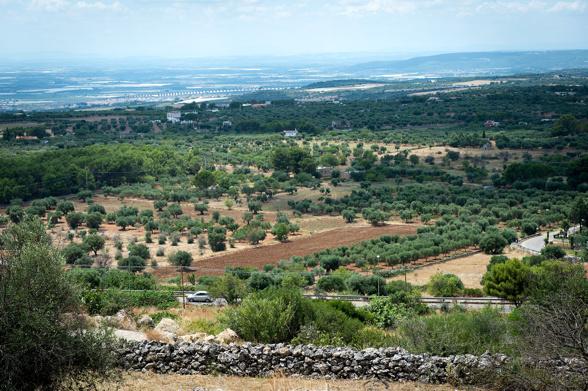 Utsikt från Mottola mot Tarantobukten till.