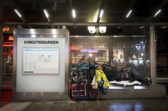 Spårvagnshållplats i Kungsträdgården, Hamngatan i Stockholm