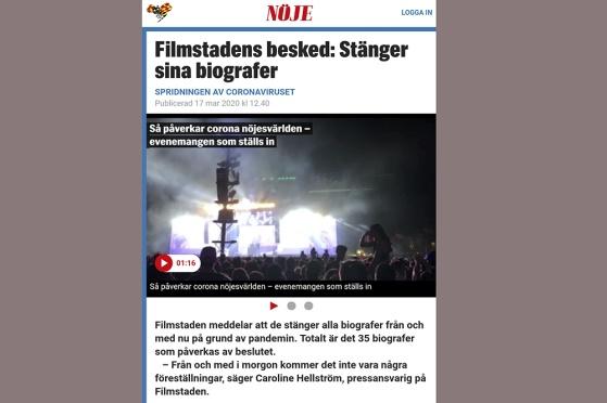 Filmstaden stänger alla sina biografer - om än tillfälligt... Ur Expressen 17 mars 2020.