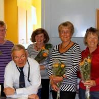"""Ola Ålstam tackade """"Flickorna i köket""""med blommor för gott arbete med morgonkaffe smörgås och tårta."""
