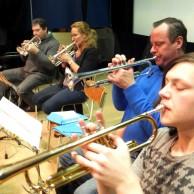Trumpeter i både silver och guld. Jan Marberg, Eva Larsson, Tommy Persson, Mikael Björk.