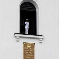 Bred dina vida vingar spelades som avslutning med Marinens solotrumpetare från Eksjö kyrkas klocktorn.
