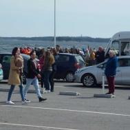 Många bilar på köade för att åka till Gotland