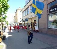 Jorge Chaves gick i täten med svenska flaggan.