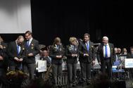 För medlemskap i Gunnebo Musikkår Hedersmärke i silver och Förbundsmedalj i silver (miniatyr), 15 år Magnus Karlsson, Jesper Sörensen, Eva Henell, Jan Marberg och Eije Högberg.