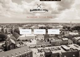 Barbershop Halmstad hemsida visitkort och inredning av Fröken Fokus design.