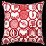 Ateljéns sömnadservice kuddfodral Fruktlåda röd/vit mönster Stig Lindberg - Fruktlåda röd/vit Kuddfodral 50x50 köp per st