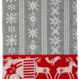 Klippans Yllefabrik Filt Lappland-Ljusgrå/Röd art.2248-02 (1-Pack) ECO