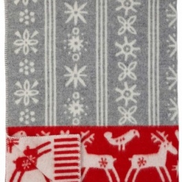 Klippans Yllefabrik Filt Lappland-Ljusgrå/Röd art.2248-02 (2-Pack) ECO