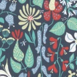 Tyg Herbarium Blå botten Bomull/Lin Formgivare Stig Lindberg