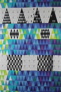 Tyg Pythagoras Blå, 100% lin exklusiv Formgivare Sven Markelius