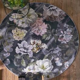 Designers Guild Digitaltrykt Matta DELFT FLOWER NOIR Rund RUGDG0457