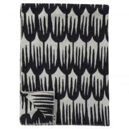 Klippans Yllefabrik Filt TULIPA SVART art.2280-01 (1-pack) Extra mjuk 60%Merinoull 40%Lammull