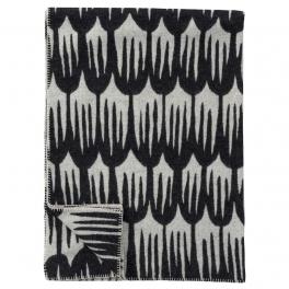 Klippans Yllefabrik Filt TULIPA SVART art.2280-01 (2-pack) Extra mjuk 60%Merinoull 40%Lammull