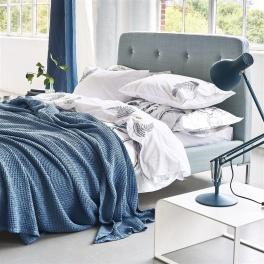 A Nyhet Designers Guild Våfelfilt/Överkast Alba Wedgwood 244x224cm BLDG0158 (2-Pack)