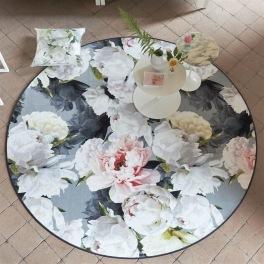 A. Nyhet Dersigners Guild Digitaltrykt Matta PEONIA GRANDE ZINC Rund diameter 250 cm RUGDG0593