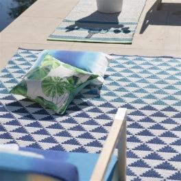 A. Nyhet Designers Guild Plastmatta indoor/outdoor Matta BISCAYNE COBALT Fyra storlekar RUGDG0579-81,0585
