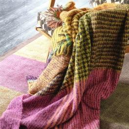 A Nyhet Designers Guild Pläd Katan Fuchsia Throw 130 x 180 cm Borstad mohair BLDG0199 (2-Pack)