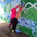 Offentlig muralmålning i Örtofta med ungdomar på uppdrag av Kulturskolan i Eslöv kommun.  Permanent utsmyckning.