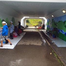 Offentlig muralmålning i Örtofta med ungdomar på uppdrag av Kulturskolan i Eslöv