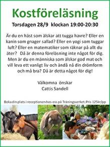 Kostföreläsning 28/9 19:00 - 20:30