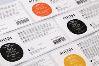 Produktettiketter för kosmetiska