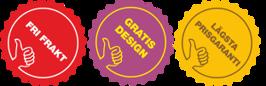 Fri frakt, Gratis design,  Lägsta prisgaranti