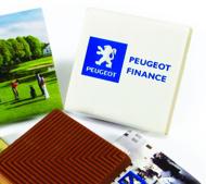 Choklad med logo tryck. Utmärkta kvadrat choklad importeras direkt från Belgien.