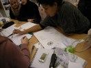 Skisser, brainstorm med arkitekturskoleelever och gymnasister