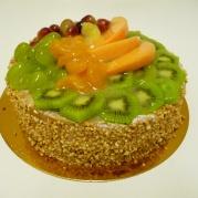 Viktoriatårta, Ljusbotten, vaniljkräm,blåbärsgrädde, frukt