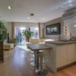 Living room adjacent to the kitchen